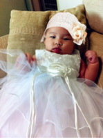 Wholesale Girl Wedding Silk with Embroidered Pearl White ivory Dress From Baby Sleeveless