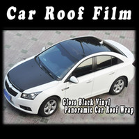 Carbon Fiber Vinyl Film ari cars - Stickers Gloss Black Vinyl Wrap Film for Car Roof Wrapping Decoration With Ari Drains Vehicle Decoration Auto Sticker Meter Roll
