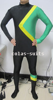 Wholesale Cool Runnings Jamaican Lycra Spandex Catsuit zentai costume green yellow black