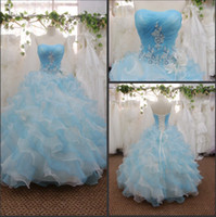 Wholesale New Fashion Strapless Blue and White Applique Beaded Pleated Ball Wedding Dresses Bridal Gowns