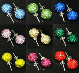 2014 new arrived Europe Stlyle Mix colors 10 MM 60pairs Stud Disco Ball Laides Crystal earrings
