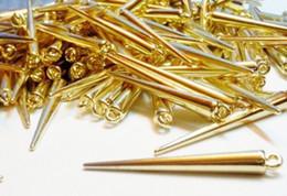 Wholesale Spike Beads Earrings - Fashion 35MM Spacer Earring Spike Beads Fit Hoops Gold   Silver Tone Earring Findings-500PCS