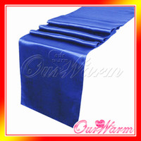 Wholesale Royal Blue Satin Table Runner Wedding Banquet Cloth Runners Holiday Favor Party