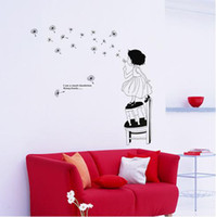 Wholesale Mural Art Wall Sticker Window Cling Room Home Decal the little girl blowing a dandelion pc