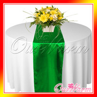 Wholesale 5 Emerald Dark Green Satin Table Runner Wedding Cloth Runners Silk Organza Holiday Favor Party Decor