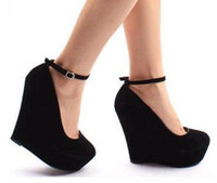 Wholesale suede purple wedges black wedges women s ankle strap high plarform wedges heel shoes colors