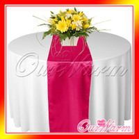 Wholesale 5 Hot Pink Fuschia Satin Table Runner Wedding Cloth Runners Silk Organza Holiday Favor Party Decorat