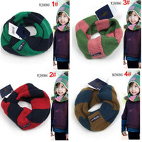 Wholesale Boys Knitting Winter Warm Neck Red Check Circle Scarves kids scarf Wool Circle Scarf Neck Warmers