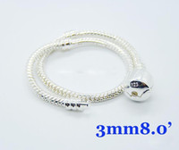 Wholesale Best Gift Silver European Bead Snake chain Bracelet inch High Quality