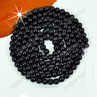 Wholesale 140pcs mm Pretty Black Faux Glass Round Pearl Loose Beads