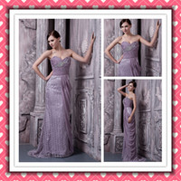 Real Sample Beauty Mermaid Lace Purple Prom Gowns Bridesmaid...