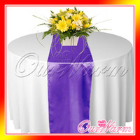 Wholesale 5 Purple Satin Table Runner Wedding Cloth Runners Silk Organza Holiday Favor Party Decorations Flag