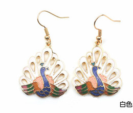 Cheap Animal Peacock Earring Classic Women's High Quality Cloisonne Jewellery 5pair lot Free