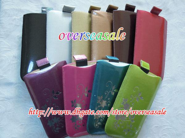 Wholesale - Colorful Flower Shiny Skin Soft PU leather pouch case for ...