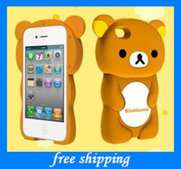 Wholesale new gifts Rilakkuma ipone4 stereo relax bear mobile phone shell Mobile phone set