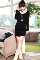 Wholesale Solid Color Womens Long Sleeve Tshirt Dress Warm Autumn Winter Dresses Slim Fit with Pockets bfs1693