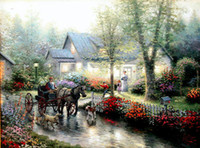 Oil Painting beautiful outings - Beautiful Landscape Canvas oil painting Sunday Outing Thomas Kinkade hand painted High quality