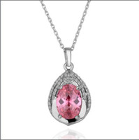 Wholesale Hot high end fashion jewelry crystal gemstone necklace white gold K RGP piece