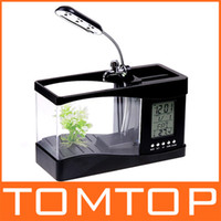 Wholesale 1pc Mini USB LCD Desktop Lamp Light Fish Tank mini Aquarium lcd display LED Clock H4874