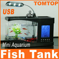 Wholesale Home adornment Mini USB Desktop Lamp Light Fish Tank black Aquarium LCD display LED Clock H4874