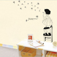 Wholesale The bedroom room wall adornment wall paper to stick the little girl blow dandelions