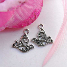 Whole sale and retail Ancient silver plated cute dove  bird charms CPL401824 16x16mm 200pcs lot