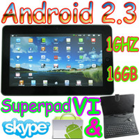 Wholesale 16GB flytouch superpad V10 quot tablet pc Android GPS WIFI webcam Vimicro amp keyboard case