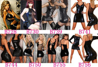 Wholesale 5pcs Fashion Black Faux Leather Sexy Lingerie Corset amp Bustier Halter Bows Dress with G String