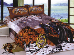 Wholesale New beautiful Harry Potter Cartoon Queen size Kids Bed Quilt Cover Set bed in a bag