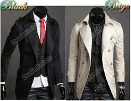 Wholesale Mens Stylish Double Breasted Long Trench Coat Windbreak Topcoat Outerwear
