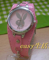 playboy watches - 20Pcs Fashion Style Playboy Mens Play Boy lady Quartz Watch Wrist Watches Leather Band Color