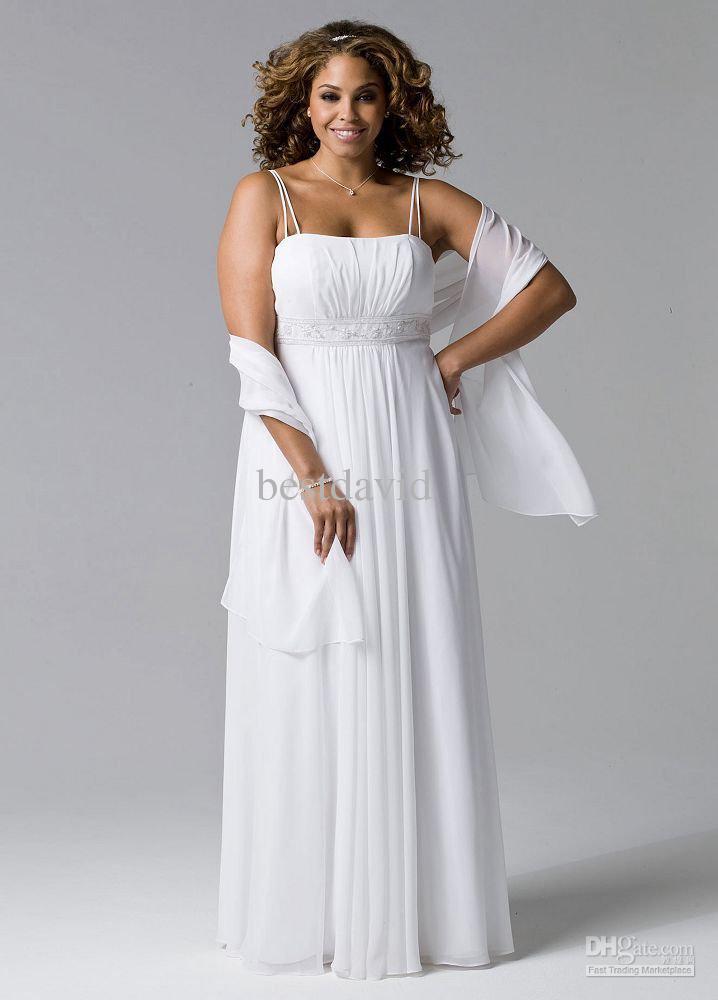 Discount bridal spaghetti strap chiffon hand beaded plus for Hand beaded wedding dresses