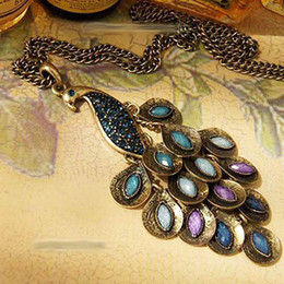 Hot New Antiqued Prancing Peacock Multi Sequin Long Necklace Peacock Pendant Necklaces Peacock Sweater chain free shipping