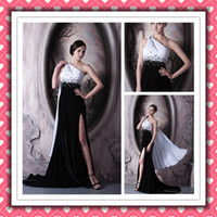 Real Sample Sexy One- shoulder Open Back White And Black Even...
