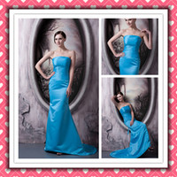 Real Sample Beauty Blue Mermaid Satin Custom Made Long Bride...