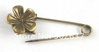 20PCS Antiqued bronze cute flower Safety Pin Brooch A15552B