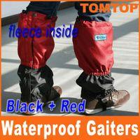 Gaiters   Outdoor Hiking Snow warm Waterproof Nylon Fleece Gaiters Red +Black Boot & Leg Climbing Gaiter H4976