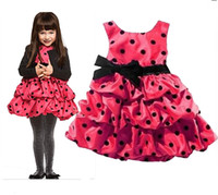 1-7 Spring / Autumn Sleeveless children girls princess formal Flower Girl Dresses birthday cake skirts red polka dot sample