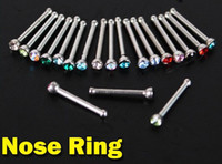Wholesale Mix Colorful Rhinestone Nose Ring Bone Stud Body Piercing Bar Jewelry BJ