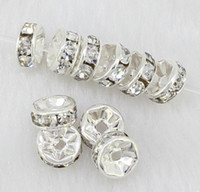Wholesale 8mm White Crystal Silver Plated Rondelle Spacer Loose Beads Findings A Rhinestone