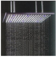 Wholesale 20 quot Stainless Steel brushed shower head square LED rain shower head