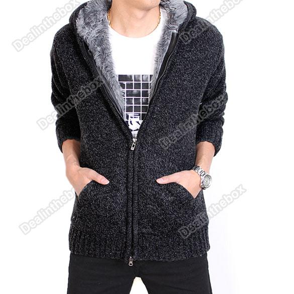 2012 Men's Zip Knitted Hoodie Wool Yarn Zipper Sweater Outerwear Black #3534 From Agood, $38.7 | Dhgate.Com