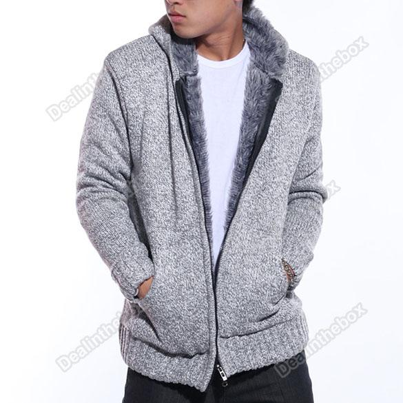 2012 Men's Zip Knitted Hoodie Wool Yarn Zipper Sweater Outerwear Light Grey#3534 From Agood, $38.7 | Dhgate.Com