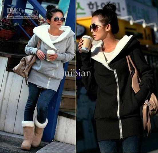 Hot sell 2012 new women's long Winter/autum Hoodies garment coat Fashion ladies hoodies pullover coat women sweatershirts X125