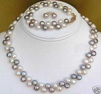 Wholesale New Natural Purple White Pearl necklace bracelet earring set