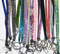 Wholesale Bling Bling Lanyard Crystal Rhinestone in neck with claw clasp ID Badge Holder for Mobile phone