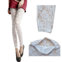 Skinny,Slim ladies trousers - Sexy Pants White Lace Tight Woman Lady Leggings Trousers sexy pants stretch lace leggings tights