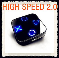 Wholesale 25pcs HIGH SPEED PORT MINI USB HUB Mirror LAPTOP FOR PC USB Ports Splitter m