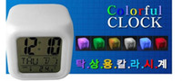 Wholesale 100pcs hot selling Glowing Led Color Change Digital Alarm Clock led clock