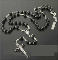 Wholesale New womens mens Silver necklace charm black beads Rosary Necklace Chain Cross Pendant Gift